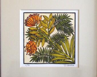 "Craftsman ""Desert Bloom""  Original Linocut"