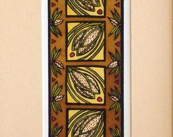 "Craftsman ""Almonds"" Vertical Original Linocut"