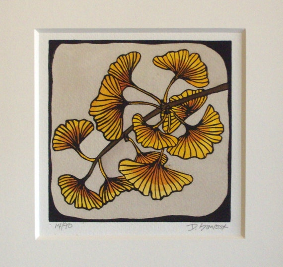 "Craftsman ""Gingko Leaves"" Original Linocut"