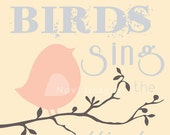 Bird on Branch Graphic Printable 8x10 Poster