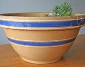 Reserved Listing - Antique Yelloware Blue Banded Stoneware