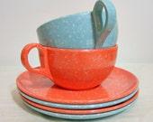 Melamine Teacups, Saucers and Small Plates Set Tea for Two--Tangerine & Aqua