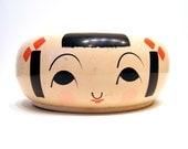 Japanese Wooden Trinket Dish Bowl Asian Girl Geisha