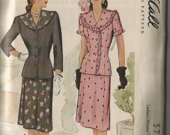 Vintage 1940's Two Piece Dress or Suit Pattern McCall 5703 38 Bust Uncut