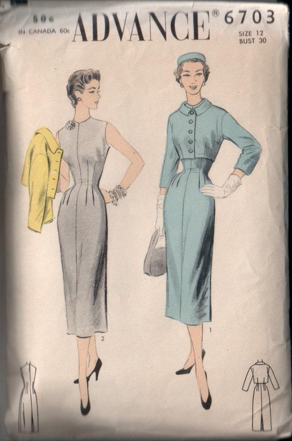 Vintage Advance 1950's Sheath Dress and Jacket Sewing Pattern 30 Bust