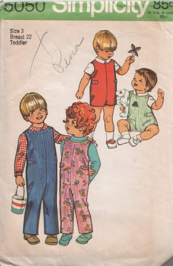 Vintage 1970's Toddler Jumpsuit and Shirt Sewing Pattern Simplicity 5050 Size 3