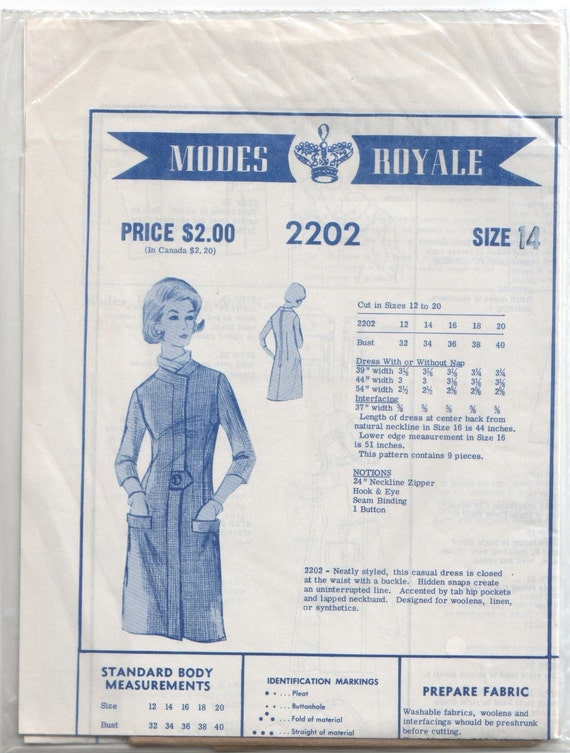 Vintage Modes Royale Mail Order 1960's Classic Dress Sewing Pattern 2202 34 Bust