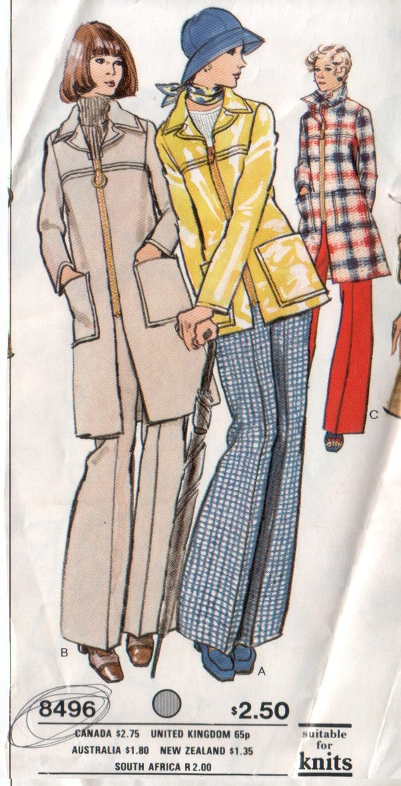 1970's Vogue Coat and Pants Sewing Pattern 34 Bust Vogue 8496 Factory Folds No Envelope