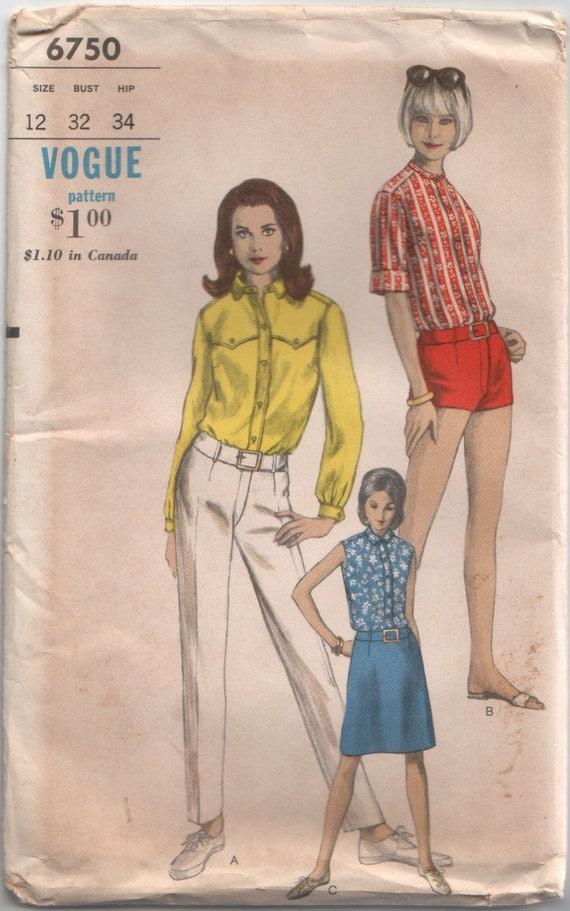 Vintage Vogue 1960's Sewing Pattern: Mod Blouse, Pants, Shorts & Skirt Pattern 6750 32 Bust