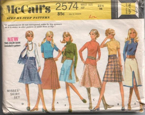 Vintage McCall's 1970's Mod A-line Skirt Sewing Pattern 2574 25.5 Waist 36 Hip