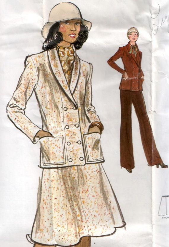 1970's Vogue Vintage Sewing Pattern : Knit Jacket, Skirt & Pants Vogue Pattern 8751 34 Bust Factory Folds No Envelope
