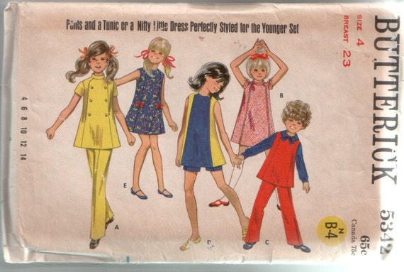 Vintage Butterick 1960's Girls Mod Dress, Tunic, Pants and Shorts Sewing Pattern 5342 Size 4