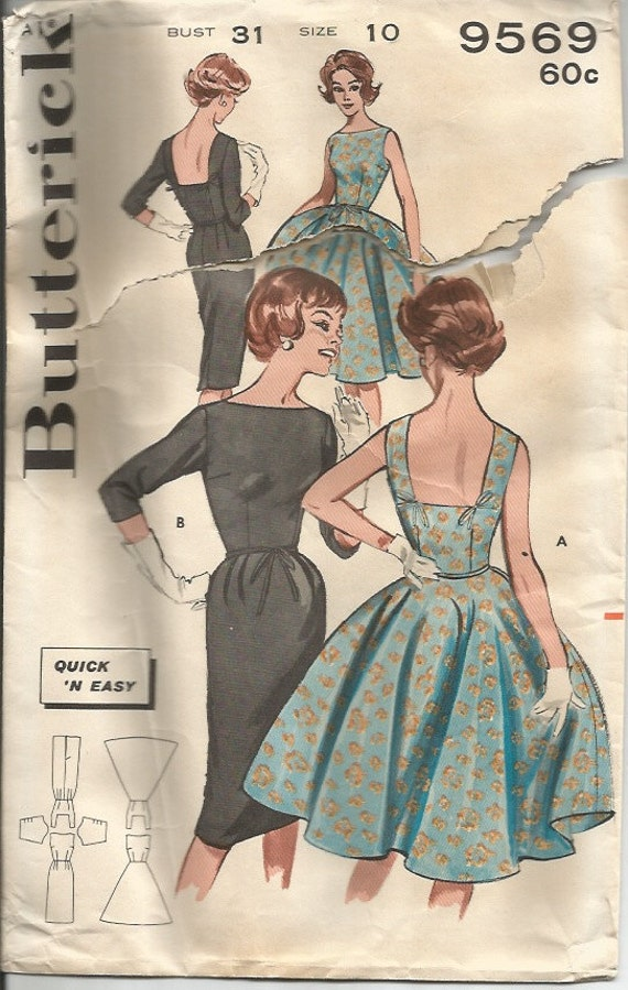Vintage 1960's Full Skirted Dress or Sheath Dress Sewing Pattern Butterick 9569 31 Bust