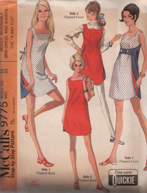 Vintage 1960's Reversible Summer Dress and Shorts Pattern McCall's 9775 34 bust Quickie