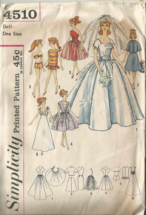 Vintage 1960's Bridal Gown and Trousseau Sewing Pattern for Barbie and Teen Dolls Simplicity 4510