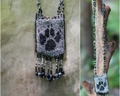 Wolf Paw Amulet Bag in Silver/Grey and Black