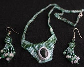 Aventurine Peyote Stitch Necklace and Earrings