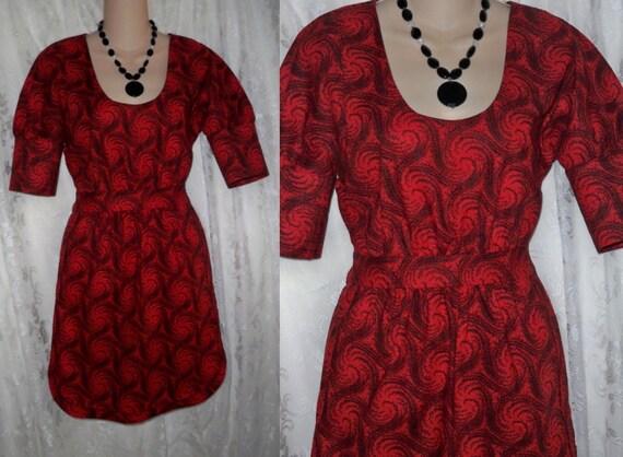Short Red Dress with Black Swirls, Scoop Neckline, Fitted Waist