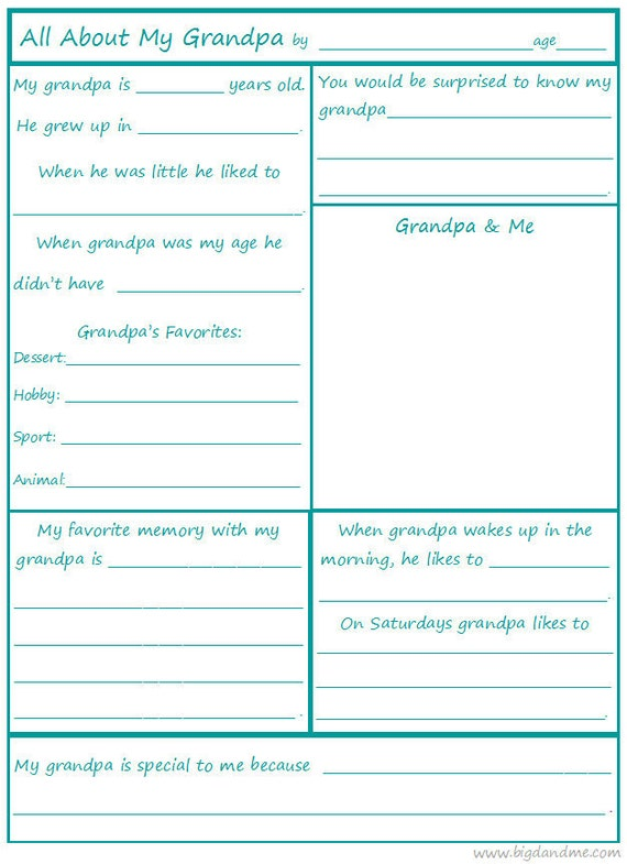All About Grandpa A Children's Interview Printable