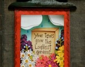 Your Tears Grow The Loveliest Gardens SYMPATHY notecard, single card, papercut, cut paper, PRINT of original shadowbox, 5 x 7