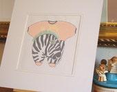 Original Mixed Media - Nursery Art - OOAK - Zebra/Le Zebre