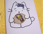 Haggis Card with Kirsty Cat - Illustration - Quirky and Calorie Free