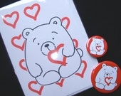 Valentine - Three Gift Set featuring Bertie Bear With Loveheart - Cute Pocket Mirror, Badge and Matching Valentine Card