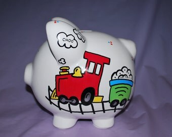 Piggy Bank LARGE Ceramic- Trains - Hand Painted and Personalized