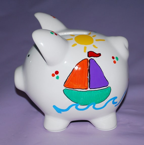 Items similar to piggy bank large ceramic sailboat hand painted and personalized on etsy - Nautical piggy banks ...