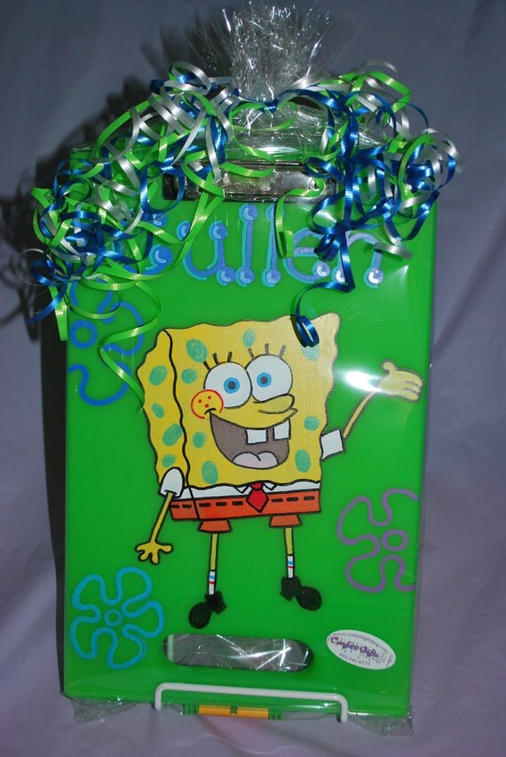 Kids Clipboard/Storage Case - SPONGE BOB - Hand Painted and Personalized