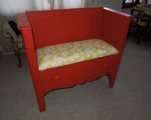 Red Repurposed Antique Dresser made into a Bench with Storage