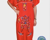 Cherry Red Long Mexican Embroidered Dress