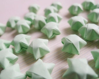 Origami Lucky Stars - Light Green Wishing Stars/Table Decor/Gift Enclosure/Party Supply/Embellishment