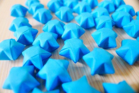 Origami Lucky Stars - Blue Wishing Stars/Party Supply/Table Decor/Embellishment/Gift Enclosure