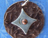 Hammered Copper and Fine Silver Pendant