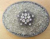 Clear Bead and Crystal Embellished Belt Buckle