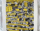 CITY WOODCUT Barcelona. City skyline yellow ink woodcut