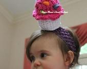 Giant Birthday Cupcake Headband. Hair Accessory. Crochet. Stuffed Amigurumi. Custom MADE TO ORDER Handmade. Perfect for birthdays