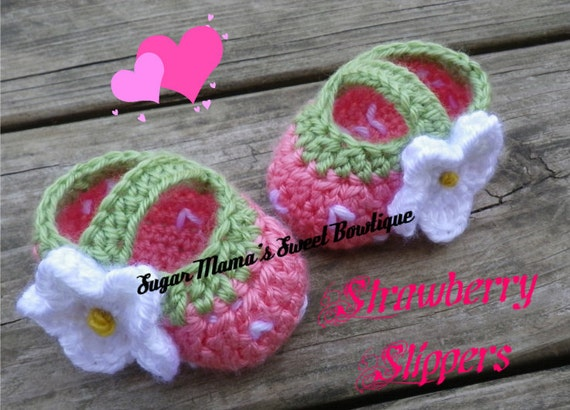 Baby Strawberry Booties. Crochet MADE TO ORDER Handmade. Custom. Baby Sizes: Preemie, 0-6 months, 6-12 months
