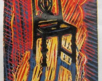 Sunlit Chair a four color reduction print