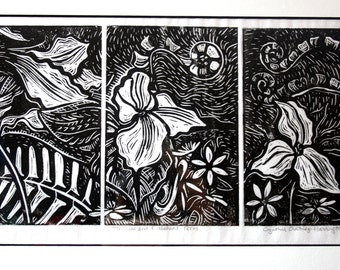 Trillium and Fiddlehead Ferns Linoleum Print