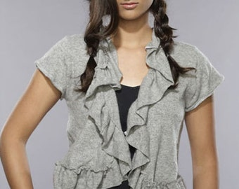 Cashmere Grey Gray Ruffle Shrug from Vintage Creations Cashmere Cardigan