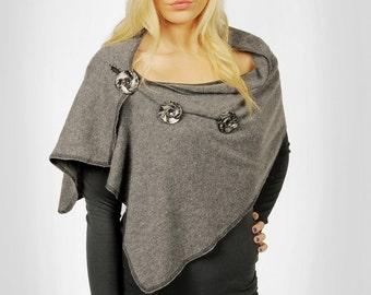 Cashmere Grey Wrap ready to ship recycled great gift