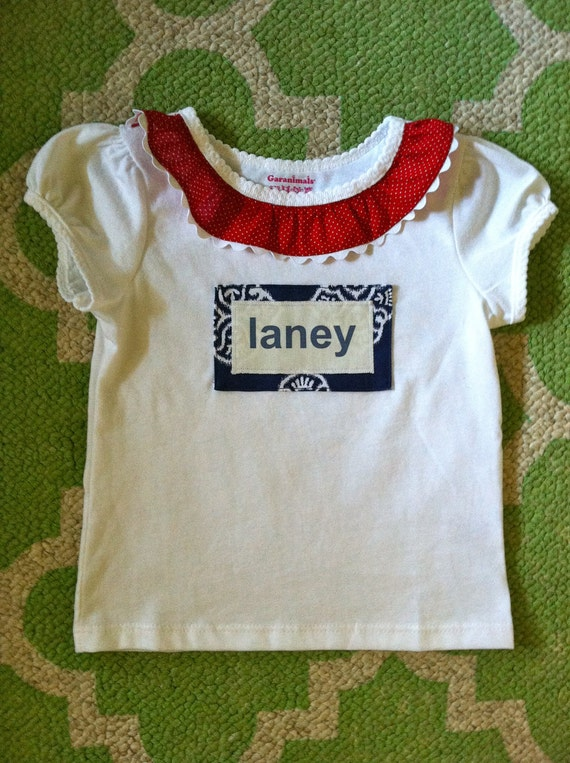 Red, White and Blue 4th of July Personalized Baby or Toddler T-shirt Or Bodysuit Available With or Without Fabric Flower