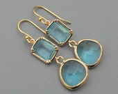 Tiffany Blue & Gold Double Stone Earrings, Bridesmaid Jewelry