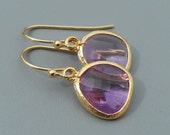 Light Purple and Gold Earrings, Bridesmaid Jewelry