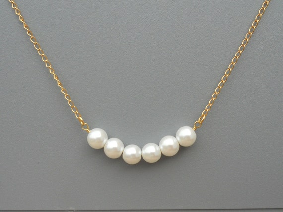 Row of White Pearls, Bridesmaid Necklace