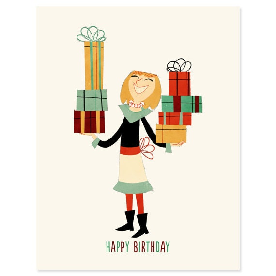 Items similar to Lady With Birthday Presents Happy Birthday Card – Lady Birthday Card