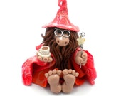 Tea Wizard, Polymer Clay Figurine, Bearded Weirdo, One of a Kind