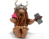 Cupcake Viking Figurine, Bearded Weirdo, Handmade from Polymer Clay